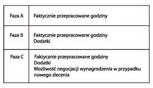 Tab.1  Składniki wynagrodzeń w poszczególnych fazach - źródło: opracowanie własne