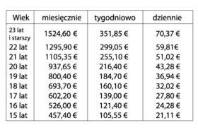 Tab.1 Minimalne stawki wynagrodzenia brutto od 1 stycznia 2016 roku (miesięcznie/tygodniowo/dziennie).