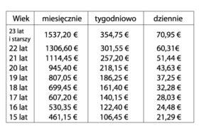 Tab.3 Minimalne stawki wynagrodzenia brutto od 1 lipcaa 2016 roku (miesięcznie/tygodniowo/dziennie).