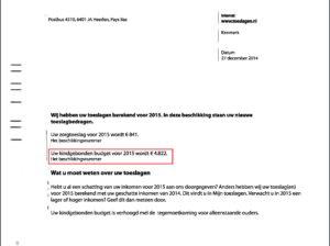 Fot.1 Decyzja wstępna do dwóch dodatków: Zorgtoeslag oraz Kindgebondenbudget, czyli dodatku do zasiłku rodzinnego (źródło: opracowanie własne dokumentów urzędowych).