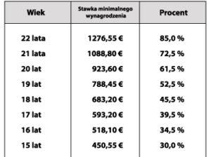 Tab.2 Minimalne wynagrodzenie brutto w zależności od wieku pracownika - źródło: opracowanie własne.